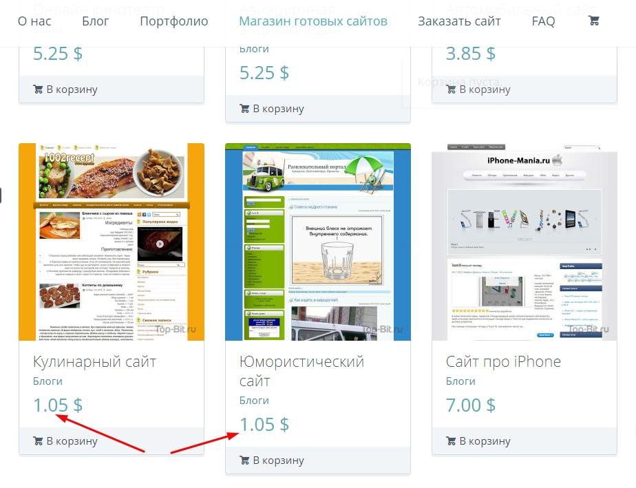 Скрин с каталога сервиса Top-Bit. Сайты за 1 доллар